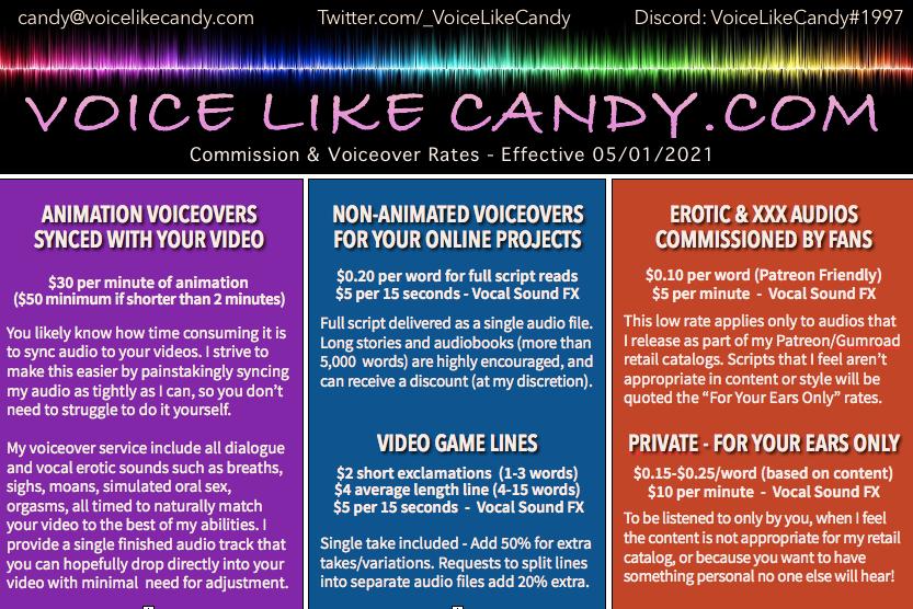 VoiceLikeCandy Commission Rates